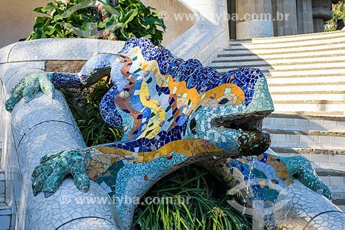 Detalhe de escultura no Parque Güell  - Barcelona - Província de Barcelona - Espanha