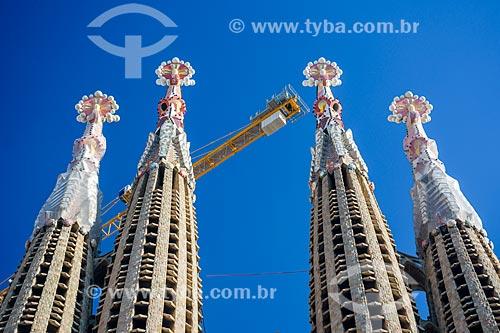 Detalhe do campanário da Basílica i Temple Expiatori de la Sagrada Família (Templo Expiatório da Sagrada Família) - 1882  - Barcelona - Província de Barcelona - Espanha