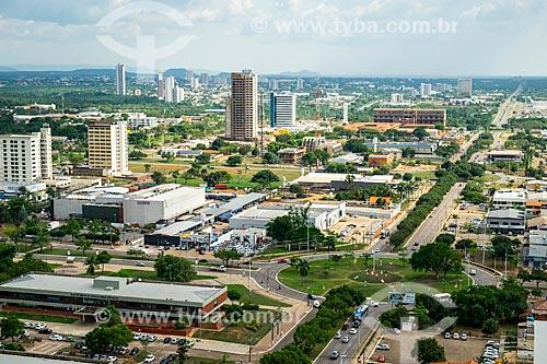 Foto aérea da cidade de Palmas com a Secretaria de Segurança Pública - à esquerda - o Palmas Shopping e o Hospital Geral de Palmas ao fundo  - Palmas - Tocantins (TO) - Brasil