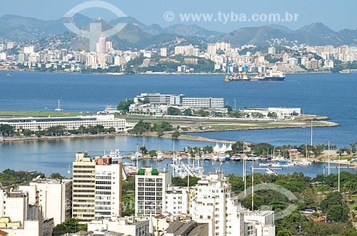 Vista da Marina da Glória e do Aeroporto Santos Dumont a partir do Mirante do Rato Molhado  - Rio de Janeiro - Rio de Janeiro (RJ) - Brasil