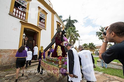 Procissão da Rasoura - em volta da Igreja de Nossa Senhora das Mercês (século XVIII) - durante a festividade de Bom Jesus dos Passos  - Tiradentes - Minas Gerais (MG) - Brasil
