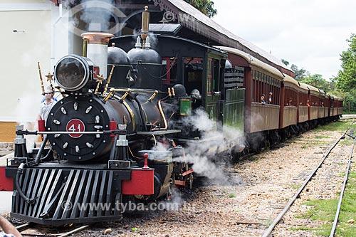 Locomotiva da The Baldwin Locomotive Works, Philadelphia 38011 - USA (1912) - que faz o passeio turístico entre as cidades de Tiradentes e São João del-Rei  - Tiradentes - Minas Gerais (MG) - Brasil