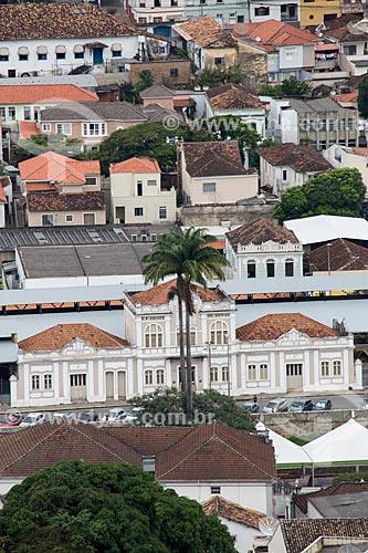 Vista do antiga Estação Ferroviária de São João del-Rei - atual Museu Ferroviário São João del-Rei - a partir do Mirante do Cristo  - São João del Rei - Minas Gerais (MG) - Brasil