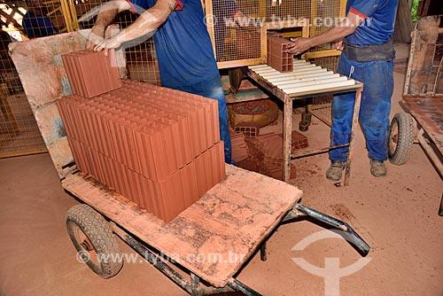 Linha de produção de tijolo em olaria  - Manacapuru - Amazonas (AM) - Brasil
