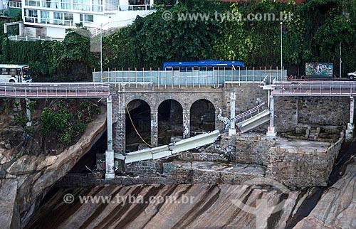 Trecho da ciclovia Tim Maia que desabou na Avenida Niemeyer devido à forte ressaca  - Rio de Janeiro - Rio de Janeiro (RJ) - Brasil