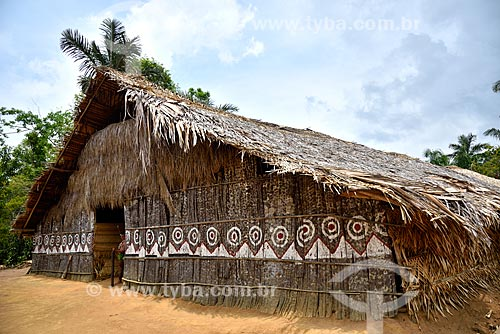 Maloca da tribo Tatuyo às margens do Rio Negro  - Manaus - Amazonas (AM) - Brasil