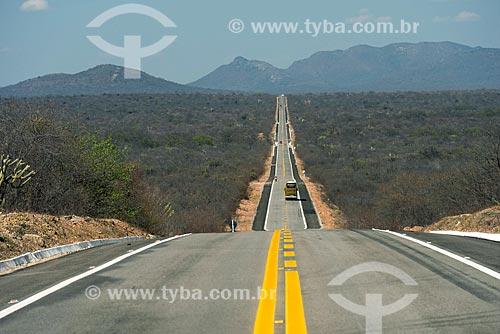 Reta longa na BR-428 - entre Lagoa Grande e Santa Maria da Boa Vista  - Santa Maria da Boa Vista - Pernambuco (PE) - Brasil