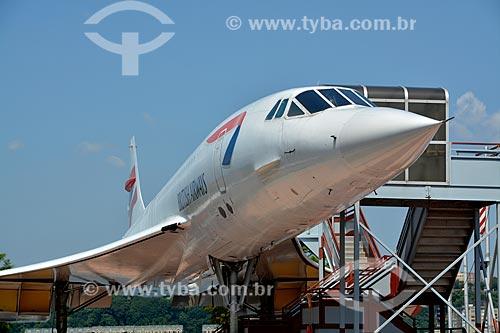 Concorde - avião comercial supersônico de passageiros - em exibição no Museu Intrepid Sea, Air & Space Museum (Museu Intrépido de Mar, Ar e Espaço)  - Cidade de Nova Iorque - Nova Iorque - Estados Unidos