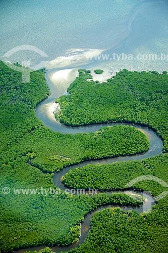 Foto aérea de foz de rio no Oceano Índico  - Distrito de Ibo - Província de Cabo Delgado - Moçambique