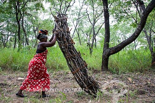 Mulher carregando lenha na Província de Niassa  - Província de Niassa - Moçambique