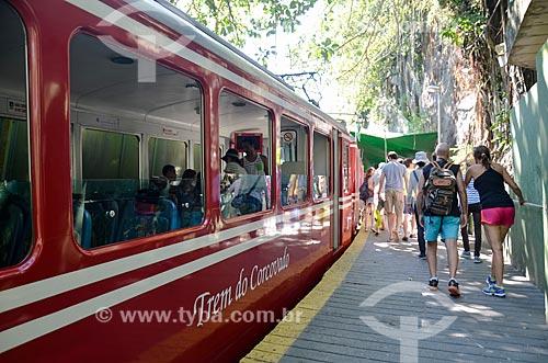 Detalhe de trem na Estação da Estrada de Ferro do Corcovado  - Rio de Janeiro - Rio de Janeiro (RJ) - Brasil