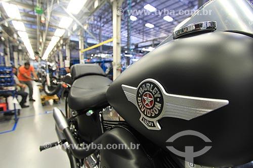 Detalhe de motocicleta no interior da fábrica da montadora Harley-Davidson  - Manaus - Amazonas (AM) - Brasil