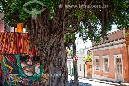 Grafite de caboclo de lança em Olinda  - Olinda - Pernambuco (PE) - Brasil