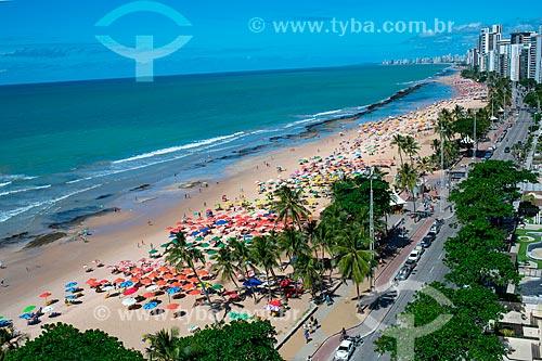 Vista geral da orla da Praia da Boa Viagem  - Recife - Pernambuco (PE) - Brasil