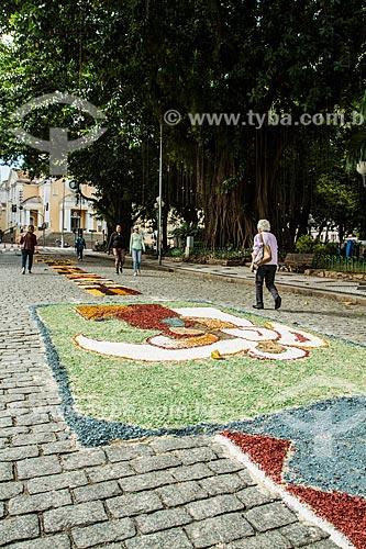 Tapetes para a procissão de Corpus Christi próximo à Praça XV de Novembro  - Florianópolis - Santa Catarina (SC) - Brasil