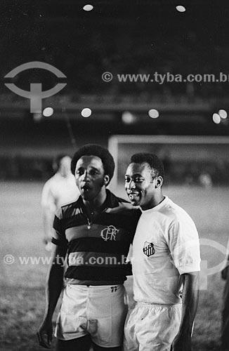Pelé e Paulo Cézar Caju durante jogo no Estádio Jornalista Mário Filho (1950) - mais conhecido como Maracanã  - Rio de Janeiro - Rio de Janeiro (RJ) - Brasil