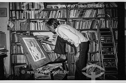 Ferreira Gullar pintando  - Rio de Janeiro - Rio de Janeiro (RJ) - Brasil
