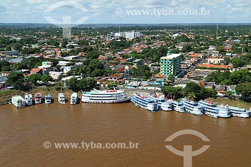Foto aérea de barcos atracados em Parintins  - Parintins - Amazonas (AM) - Brasil