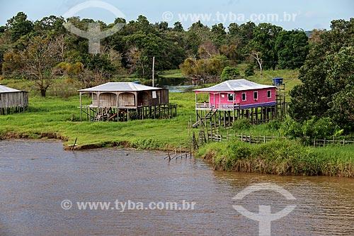 Palafita em comunidade ribeirinha às margens do Rio Amazonas com pouca água mesmo na época de cheia  - Careiro da Várzea - Amazonas (AM) - Brasil