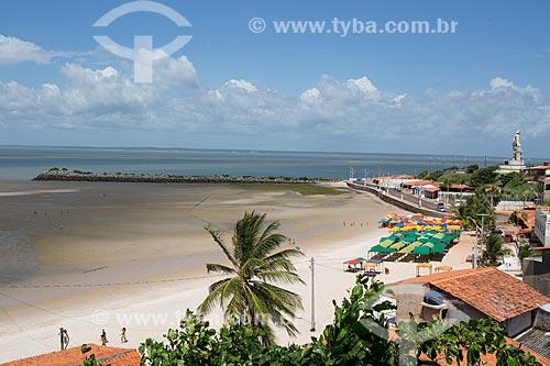 Orla da Praia de São José de Ribamar com a estátua de São José de Ribamar à direita  - São José de Ribamar - Maranhão (MA) - Brasil