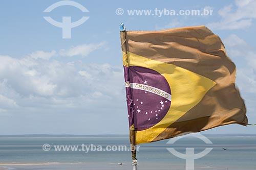 Bandeira do Brasil na Praia de São José de Ribamar  - São José de Ribamar - Maranhão (MA) - Brasil