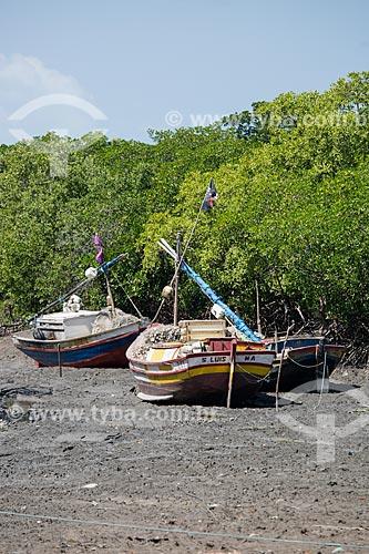 Barcos encalhados em manguezal durante a maré baixa  - Raposa - Maranhão (MA) - Brasil