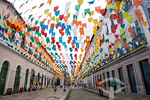 Decoração de festa junina na Rua Portugal  - São Luís - Maranhão (MA) - Brasil