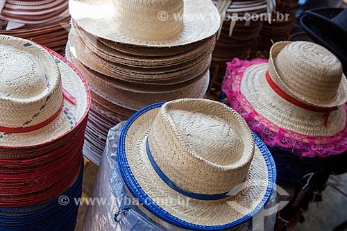 Chapéu de palha à venda no Mercado Central de São Luís  - São Luís - Maranhão (MA) - Brasil