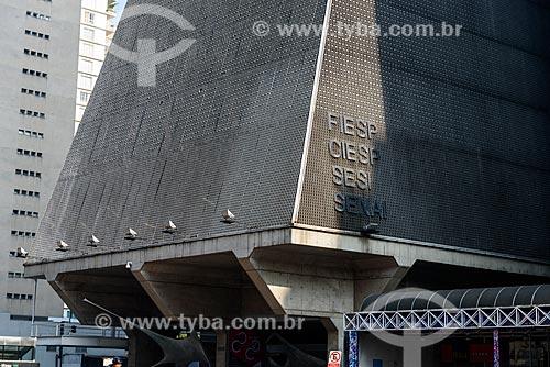 Detalhe da fachada da Federação das Indústrias do Estado de São Paulo (FIESP) na Avenida Paulista  - São Paulo - São Paulo (SP) - Brasil