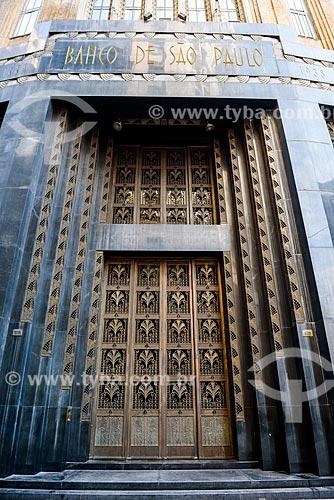 Entrada do antigo prédio do Banco de São Paulo - atual sede da Secretaria de Estado de Esporte, Lazer e Juventude  - São Paulo - São Paulo (SP) - Brasil