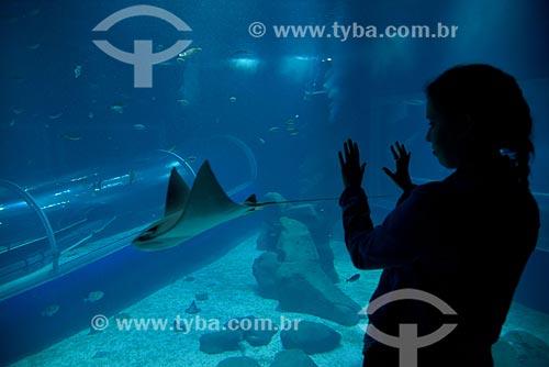 Visitante no interior do AquaRio - aquário marinho da cidade do Rio de Janeiro - observando arraia  - Rio de Janeiro - Rio de Janeiro (RJ) - Brasil