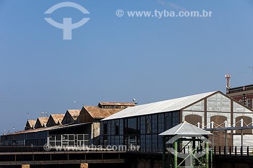 Vista dos armazéns no Porto de Manaus  - Manaus - Amazonas (AM) - Brasil
