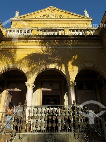 Detalhe da fachada do Museu da Cidade de Pelotas (1879) - antigo Palacete do Barão de São Luís  - Pelotas - Rio Grande do Sul (RS) - Brasil