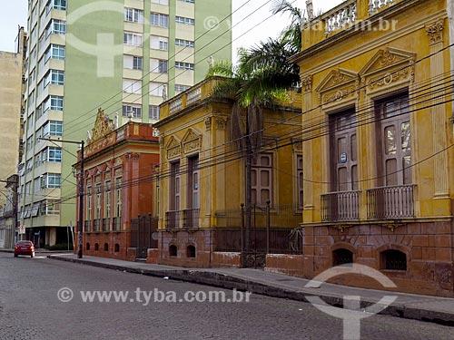 Fachada do Museu da Cidade de Pelotas (1879) - antigo Palacete do Barão de São Luís - com o Museu do Doce (1878) ao fundo  - Pelotas - Rio Grande do Sul (RS) - Brasil