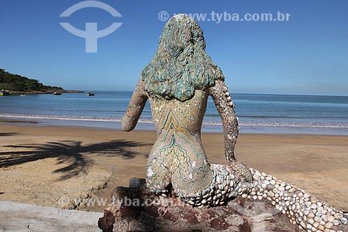 Escultura em areia na Praia do Ubu feita pelo artista Ronaldinho  - Anchieta - Espírito Santo (ES) - Brasil