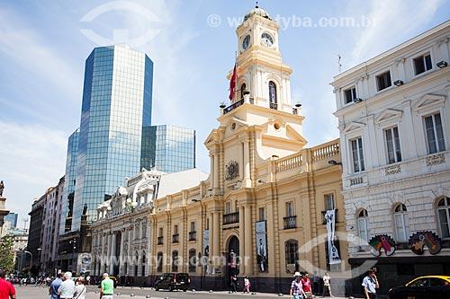 Prédio do Correo Central de Santiago (Correio Central de Santiago) e do Museo Histórico Nacional (Museu Histórico Nacional do Chile) na Plaza de Armas de Santiago (Praça de Armas)  - Santiago - Província de Santiago - Chile
