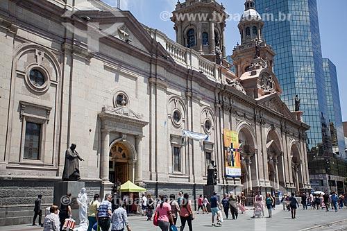 Vista da La Catedral Metropolitana de Santiago (Catedral Metropolitana de Santiago) - 1800 - a partir da Plaza de Armas de Santiago (Praça de Armas)  - Santiago - Província de Santiago - Chile