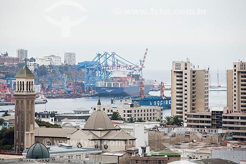 Vista geral da cidade de Valparaíso com o porto ao fundo  - Valparaíso - Província de Santiago - Chile