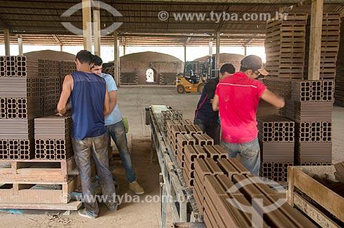 Fabricação de tijolos na olaria Cerâmica Goiana  - Ourilândia do Norte - Pará (PA) - Brasil