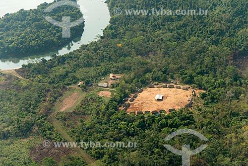 Foto aérea da aldeia Pykararakre na Terra Indígena Kayapó  - São Félix do Xingu - Pará (PA) - Brasil