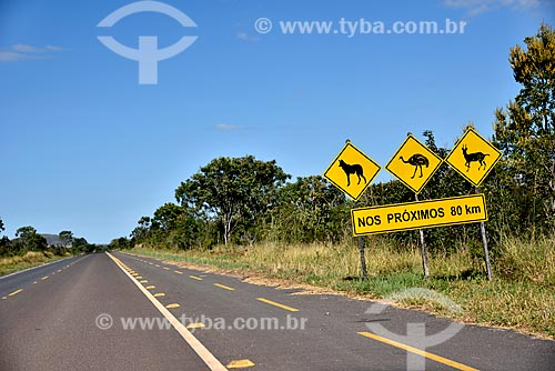 Ciclovia e placa de sinalização da presença de animais silvestres na Rodovia GO-239 - Parque Nacional da Chapada dos Veadeiros  - Alto Paraíso de Goiás - Goiás (GO) - Brasil