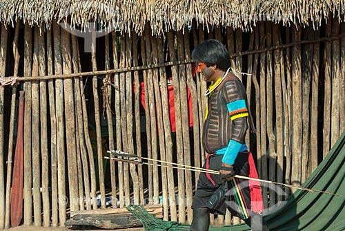 Índio na  Aldeia Moikarakô - Terra Indígena Kayapó  - São Félix do Xingu - Pará (PA) - Brasil