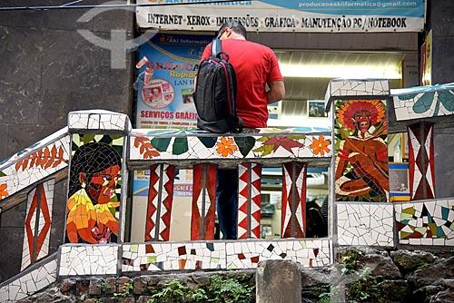 Mosaico na escadaria do Morro da Conceição  - Rio de Janeiro - Rio de Janeiro (RJ) - Brasil