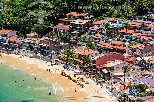 Vista da 1ª Praia e casas a partir do Mirante do Morro de São Paulo  - Cairu - Bahia (BA) - Brasil