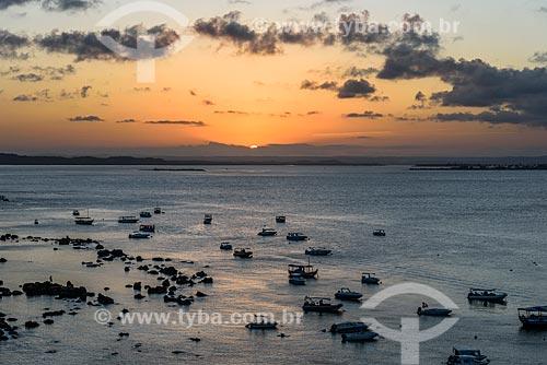 Vista do pôr do sol a partir do Morro de São Paulo  - Cairu - Bahia (BA) - Brasil