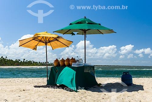 Barraca com comidas na Praia da Boca da Barra  - Cairu - Bahia (BA) - Brasil