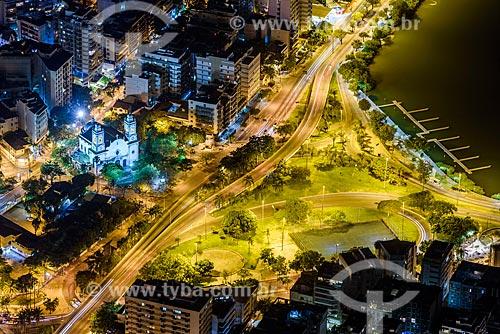 Foto aérea da Avenida Epitácio Pessoa e Viaduto Humberto Vital de Mello próxima a entrada sul do Túnel Rebouças  - Rio de Janeiro - Rio de Janeiro (RJ) - Brasil