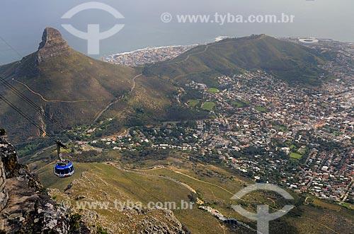 Teleférico na Montanha da Mesa - uma das Novas Sete Maravilhas Naturais do Mundo  - Cidade do Cabo - Província do Cabo Ocidental - África do Sul