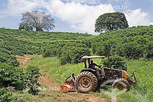 Roçadeira trincha próximo à plantação de café na Fazenda Serra Azul  - Carmo de Minas - Minas Gerais (MG) - Brasil