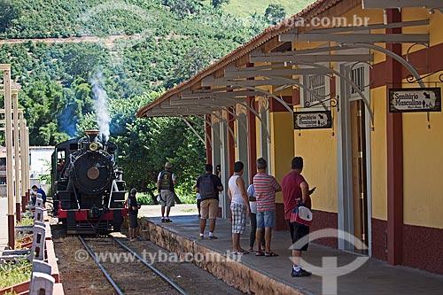 Locomotiva The Baldwin Locomotive Works 1424, USA 59712 (1927) - que faz o passeio turístico entre as cidades de São Lourenço e Soledade de Minas - chegando na Estação Ferroviária de Soledade de Minas  - Soledade de Minas - Minas Gerais (MG) - Brasil